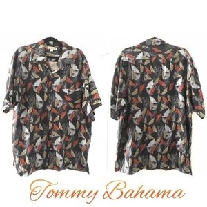 Tommy Bahama Sz XL Men's Leaf 100% Silk Shirt